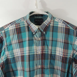 Burberrys Vintage Mens Casual Striped Shirt Sz XL